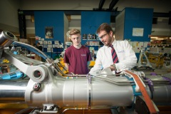 Messier-Bugatti-Dowty MRO managing director Nigel Woodford talking to Mechanical Engineering apprentice, Kyle Gardner (18). Picture by Clint Randall www.pixelprphotography.co.uk